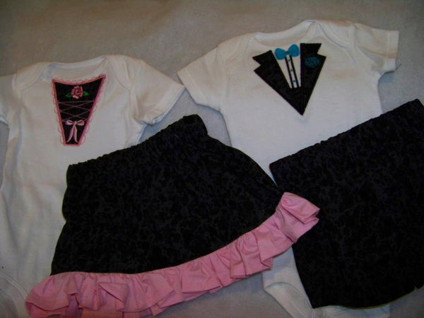 Twin Boy and Girl Tux Sets Girl tuxedo Skirt Set Boy Tux Short Set Sibling Outfits