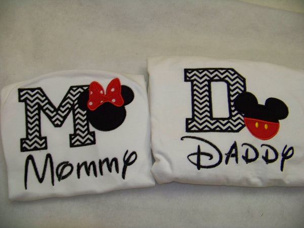 Mommy and Daddy and Birthday Boy Mickey inspired shirts