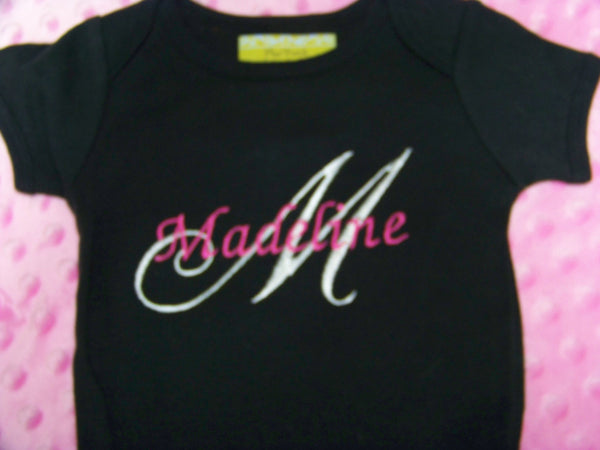 custom boutique white black and pink personalized shirt name and initial icluded
