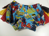 custom boutique girls wonder women super girl bat girl ruffle bottom bloomer diaper cover girl power