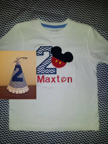 personalized mr mouse birthday shirt and matching chevron print hat mickey mouse inspired