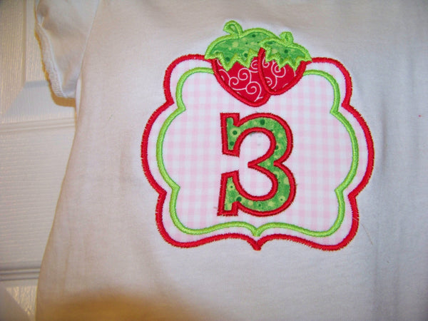Personalized Birthday Strawberry  shirt girls party shirt Strawberry birthday tshirt