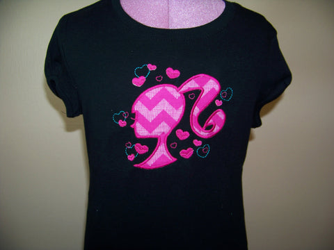 custom boutique  black and pink chevron doll  shirt