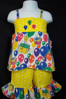 Birthday Balloons Two Piece Short Set Cat Ruffle Short Set