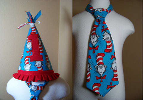 The Cat and The Hat First Birthday Set Cat in The Hat Two Piece Birthday Hat and Tie Set