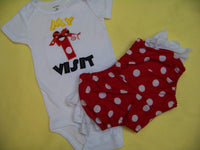 My First Visit  Shirt and Ruffle Bottom Minnie nspired 1st Visit Outfit