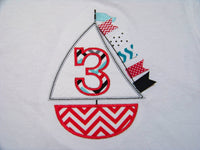 Personalized birthday sailboat shirt Chevron Sailboat Shirt