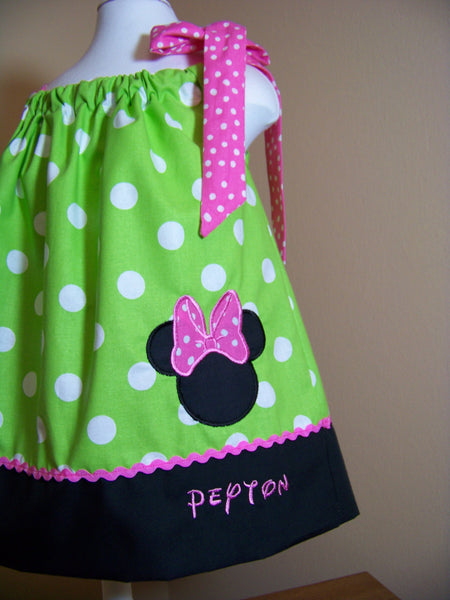 Minnie Mouse Inspired Pillowcase Dress Lime Green and Pink Polka Dot Dress