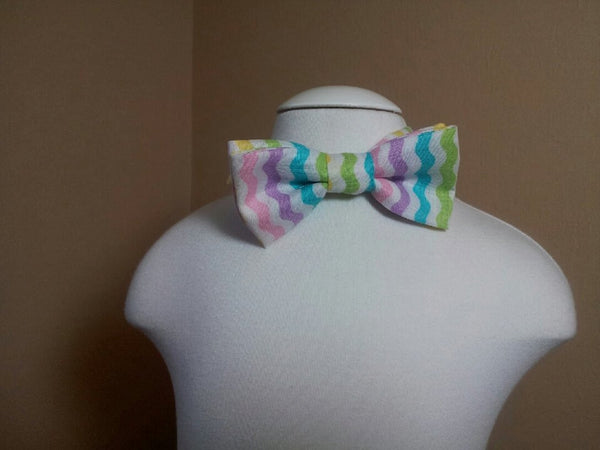 pastel chevron child sized bowtie dress up bow tie