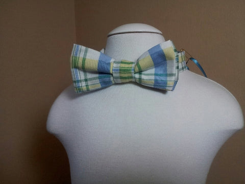 blue and yellow plaid child sized bowtie dress up bow tie