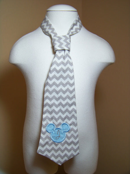 Mickey Mouse inspired grey and white chevron tie easy on/off tie for babies and toddlers necktie