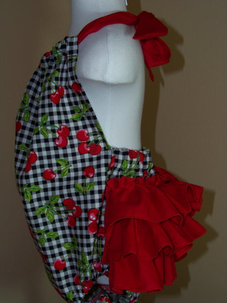 Cherry Bubble Romper Ruffled Bottom Halter Sunsuit