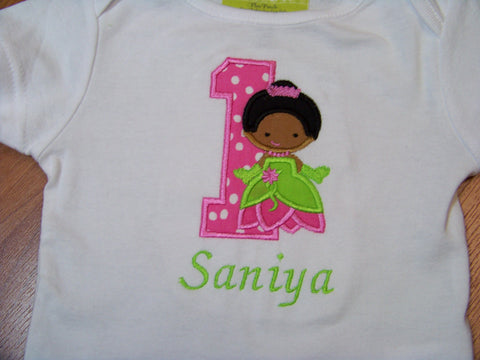 Personalized Birthday Princess and the Frog Shirt Princess Birthday Pink and Green Princess Party