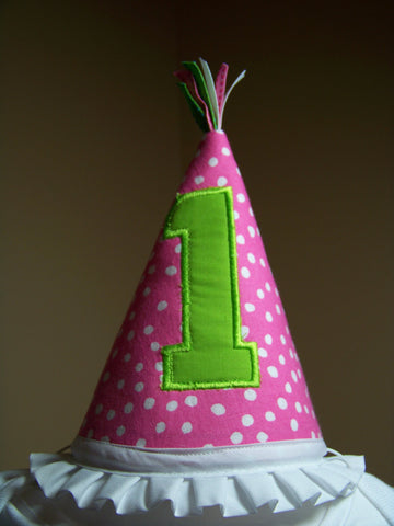 Pink Polka Dot Birthday Hat
