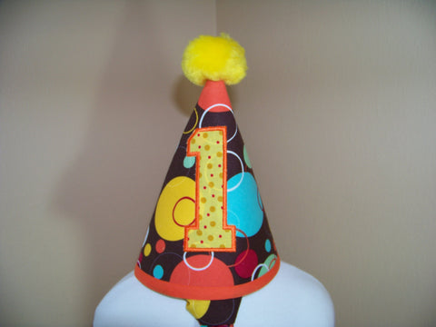 Polka Dot Birthday Hat Blue, Yellow, Brown and Orange Themed Birthday Party Hat
