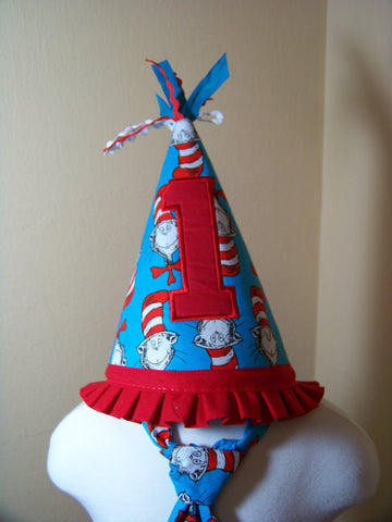 Cat in the Hat  Birthday Hat Dr Seuss Themed Party Hat