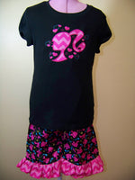 Black and Pink Chevron Doll Short Set