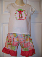 Strawberry SHortcake Birthday Set Birthday Strawberry shirt girls party shirt Strawberry birthday tshirt