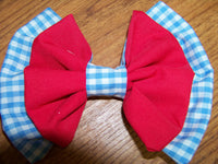Wizard of OZ Inspired Gingham hair bow your choice of clip girls Dorothy cloth hairbow