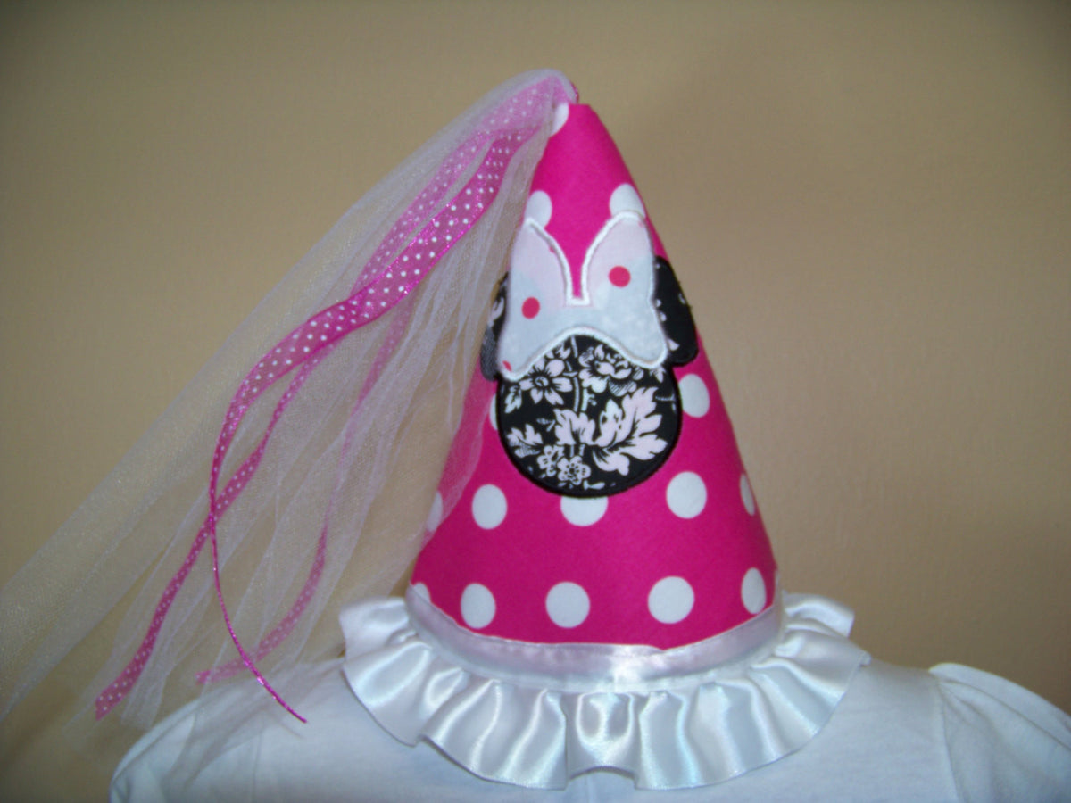 f149f6cefd612 Princess Minnie Mouse Inspired Birthday Hat Pink and White Polka Dot P –  Play Patch
