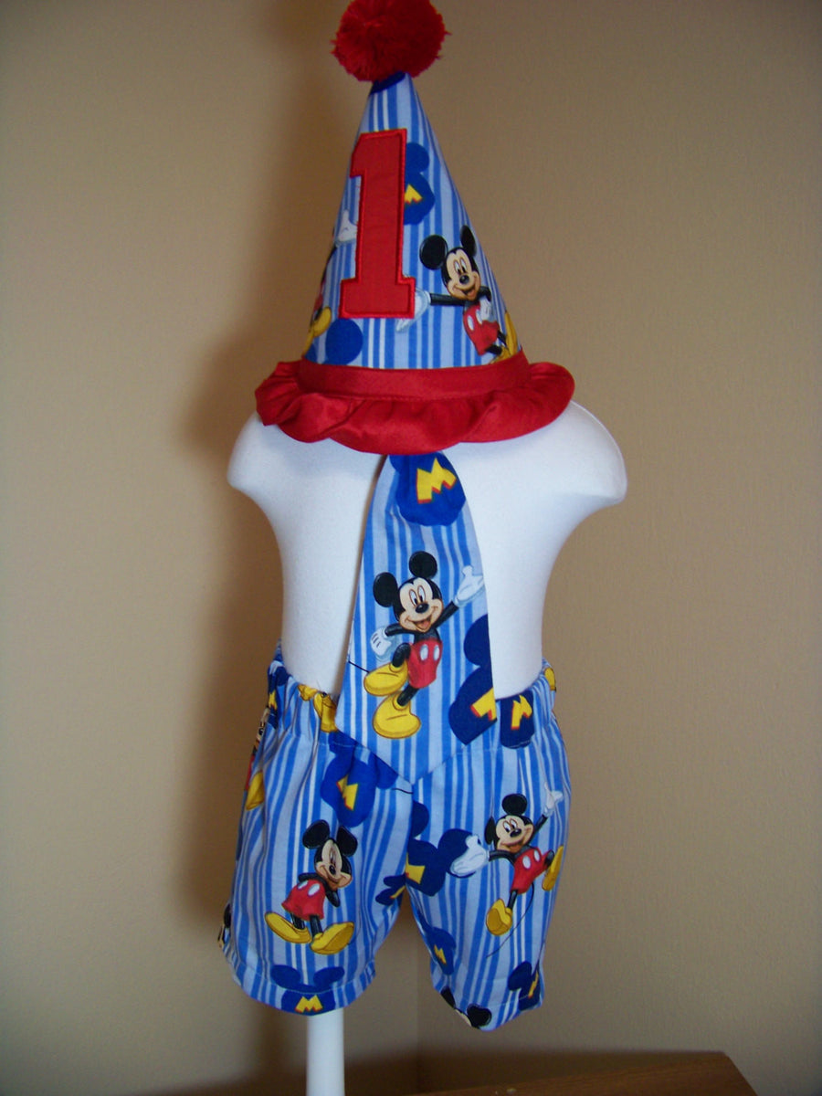 MIckey Mouse Three Piece Birthday Hat Shorts First Mickey Se PlayPatch