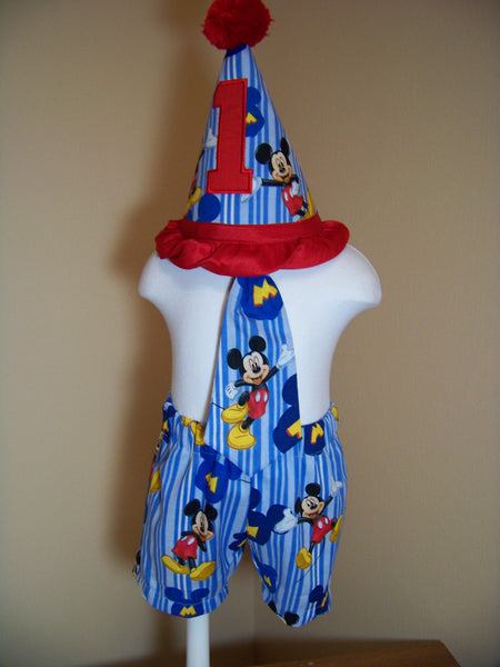 MIckey Mouse Three Piece Birthday Hat, Shorts First Birthday Mickey Set
