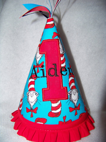 Personalized Cat in the Hat  Birthday Hat Dr Seuss Themed Party Hat