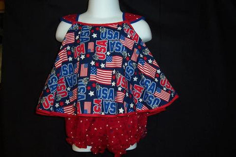 Swing Top and Diaper Cover Fourth of July Outfit