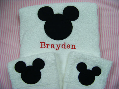 Mickey  Towel set DM Boutique Miss Mouse personalized three piece bath towel set