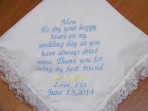 Mother of the Bride or Groom Embroidered Wedding Handkerchief