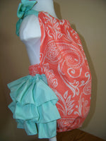 Coral and Mint Ruffled Bottom Baby Bubble Halter Ruffle Bottom Heirloom Romper