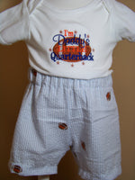 Daddy's Little Quarterback Football Shirt and Seersucker Short Set
