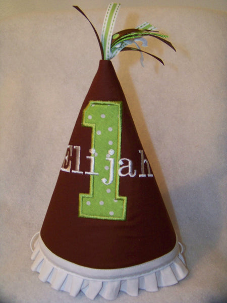 Brown And Green Personalized Birthday Hat