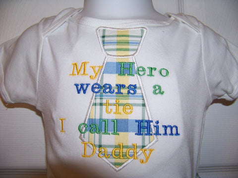 My Hero Wears a Tie shirt mommy daddy nana papa personalized  Hero Shirt