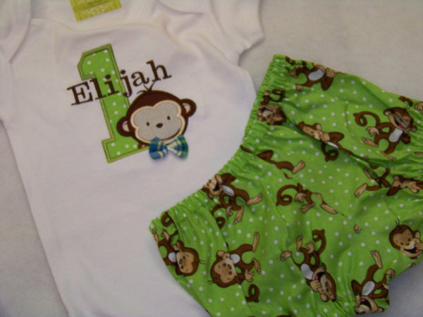 monkey birthday two piece set  green and brown monkey inspired birthday set