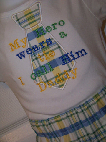 My Hero Wears a Tie Set  mommy daddy nana papa personalized  Hero Shirt
