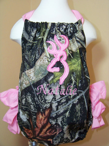 Camo ruffled bottom baby bubble camoflauge sunsuit ruffle bottom browning inspired sun suit romper