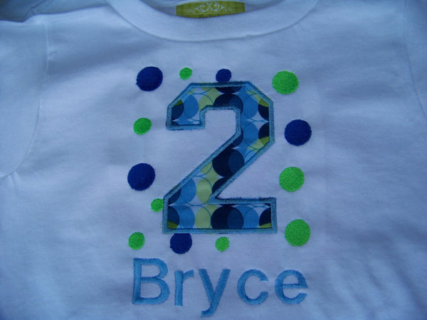 Personalized Blue and Green Birthday Shirt   Polka Dot Party Shirt