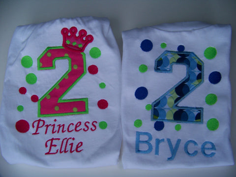 Personalized Polka Dot Birthday  Shirts for Twins or Siblings
