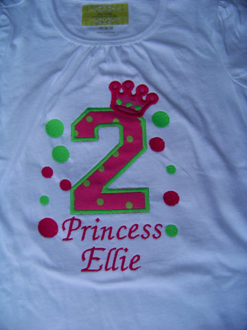 Personalized birthday princess applique shirt princess birthday tshirt pink and green princess crown t shirt