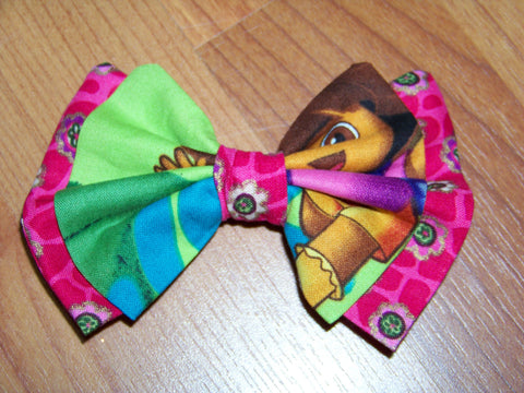 Dora hair bow your choice of clip girls Dora cloth hairbow