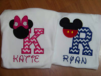 Personalized Minnie and Mickey inspired Birthday Shirts for Twins or Siblings