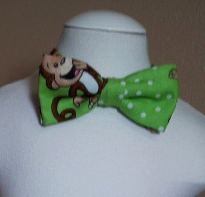 boysMonkey bow tie Green and white monkey bowtie