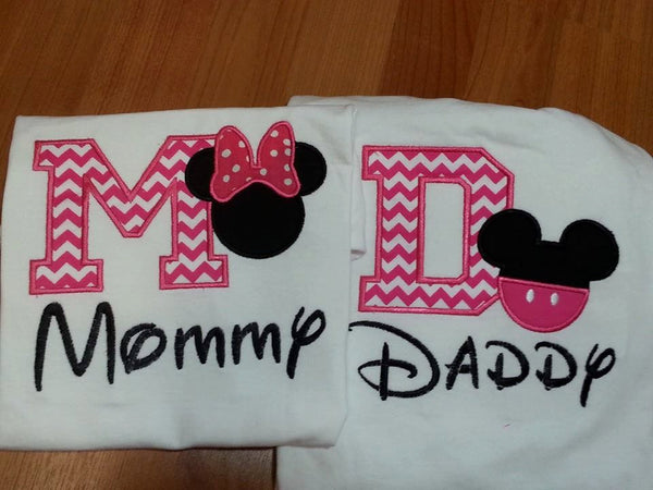 Mommy and Daddy Pink  Mickey and Minnie inspired shirts