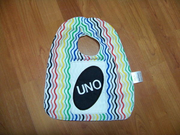 Uno Inspired Bib Fist Birthday Multi-Colored Bib