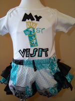 My First Visit  Shirt and Ruffle Bottom Minnie Mouse Princess inspired 1st Visit Outfit