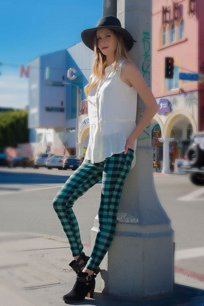 Green Checkerd Leggings