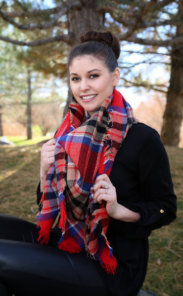 Red and Orange blanket scarf