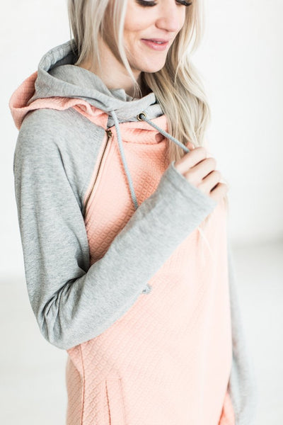 DoubleHood Sweatshirt-Quilted Peach
