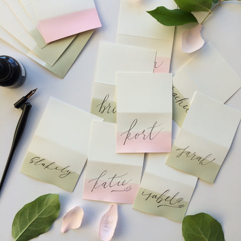 Swell Press Paper Dip Dye Folding Place Cards